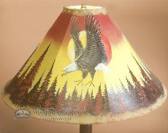 """Southwestern Leather Lamp Shade 22"""""""" -Sunset Eagle (pl5)"""