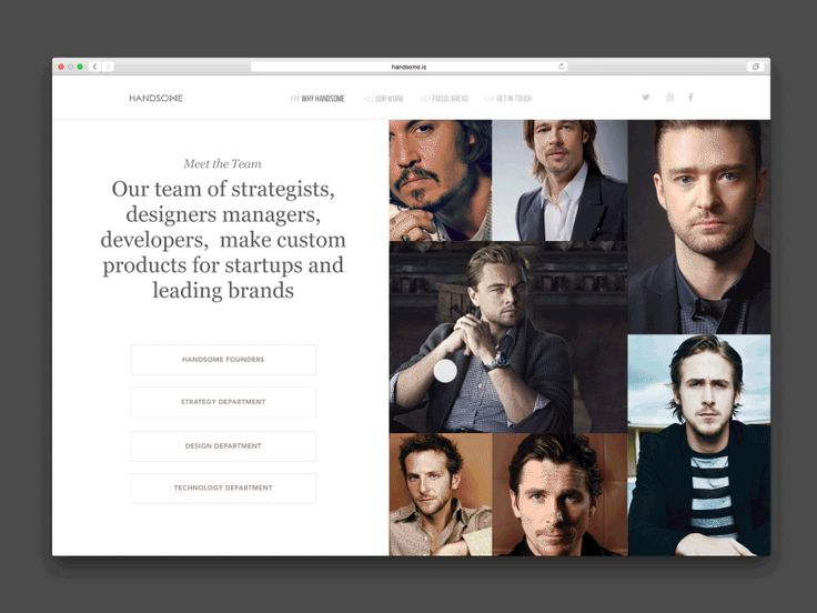 Handsome Site Team Page by ⋈ Sam Thibault ⋈ for Handsome