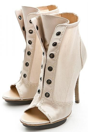 Love these GIUSEPPE ZANOTTI old fashioned faux button up toe peep heels