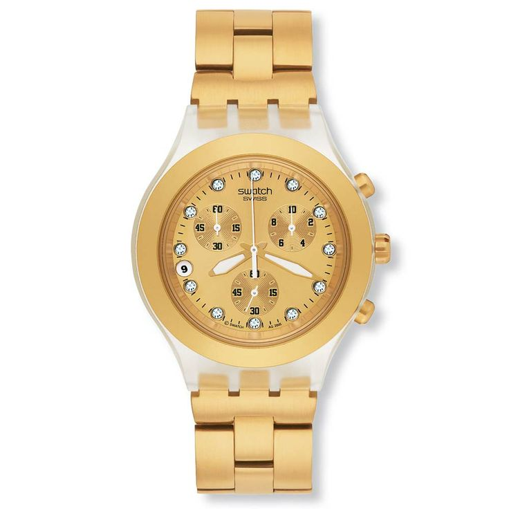 Golden up his life but dont break the bank by sporting the Swatch SVCK4032G Unisex Full-blooded Gold Plated Stainless Steel Chronograph Watch. On sale for $110.60 #Swatch #Watch