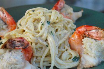 Crab Stuffed Shrimp with Linguine and Ramps - ChefTalk.com Community