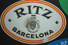 Original HOTEL RITZ BARCELONA Spain Vintage Travel Luggage / Suitcase Label