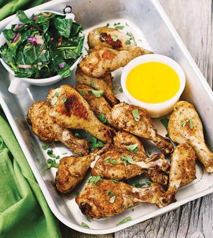 Roast Jerk Chicken with Mango Sauce & Collard Greens image