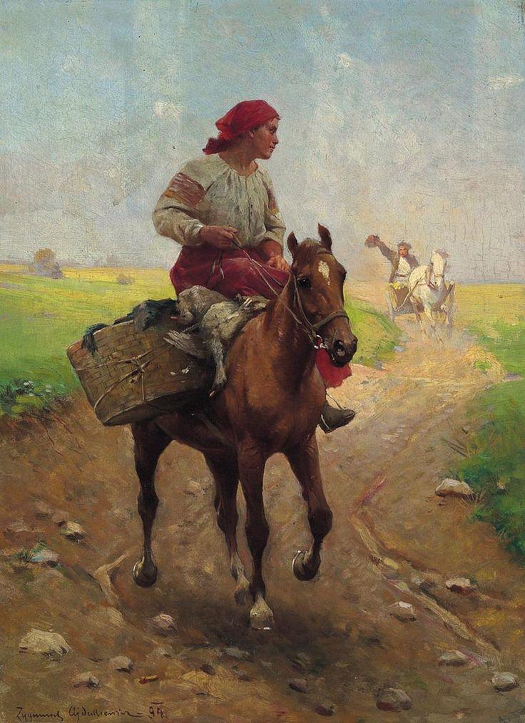"""Zygmunt Ajdukiewicz """"Z gęsiami na targ"""", 1894, olej na desce, 36 x 26 cm, własność prywatna"""