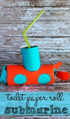 Toilet Paper Roll Submarine Craft for Kids #Ocean theme art project | CraftyMorning.com