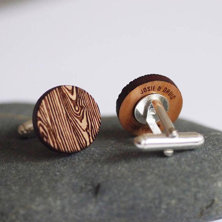 woodgrain secret message cufflinks