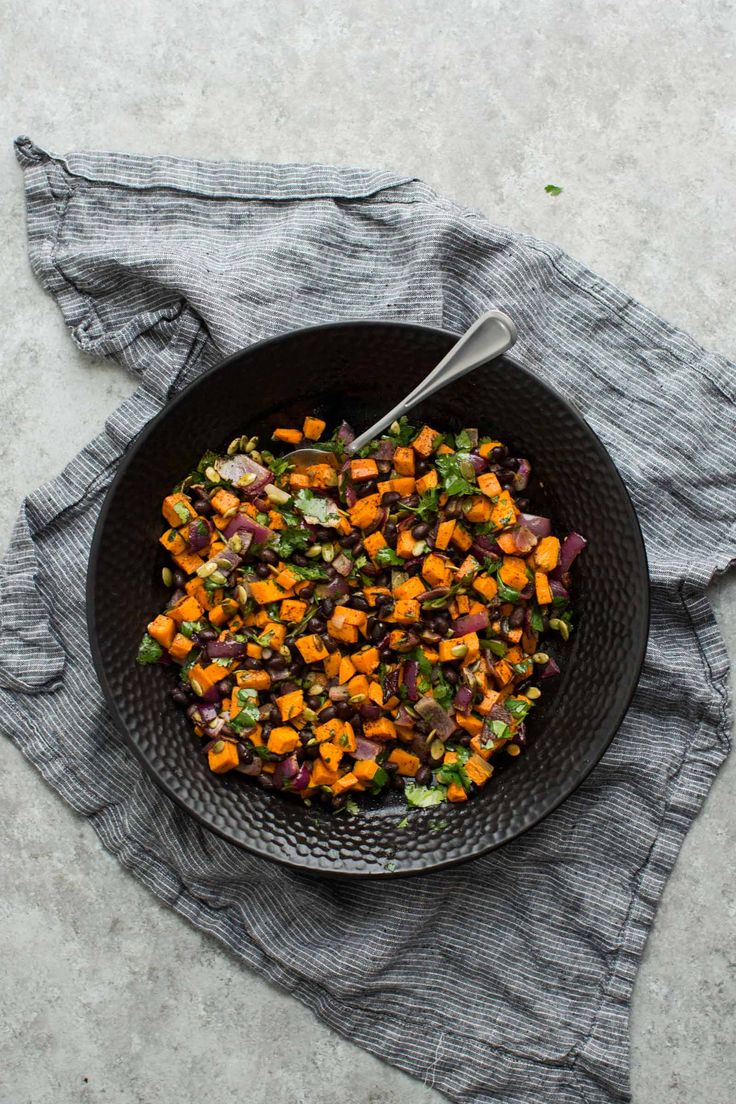 Black Bean Salad with Roasted Sweet Potatoes and Pepitas