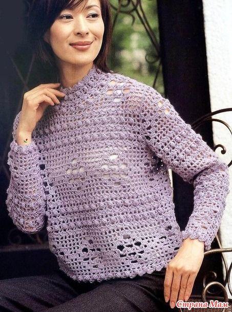 Интересное сочетание плоского ажурного узора и выпуклых столбиков делает этот пуловер очень красивым и необычным. 380 гр сиреневой пряж средней толщиныи. Крючок 5 мм. Обхват груди 96 см.
