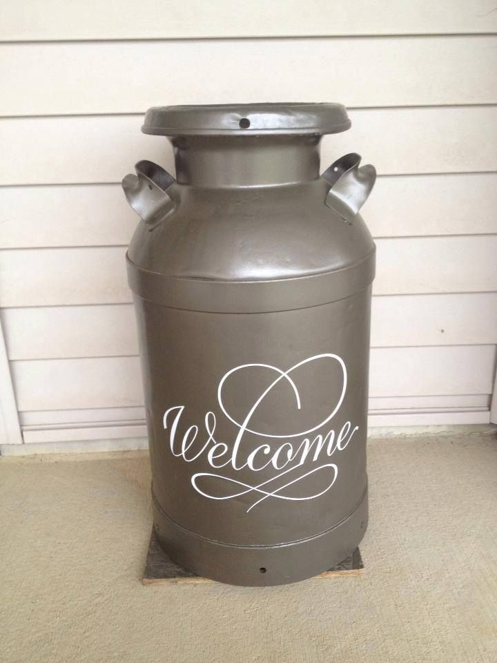 Milk can make over - uses a pre-designed vinyl sheet