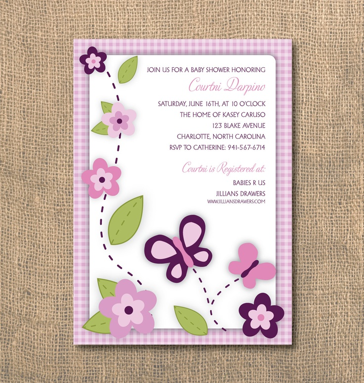 PRINTABLE++5x7+Butterflies+and+Flowers++Baby+Shower+by+DGInvites,+$15.00