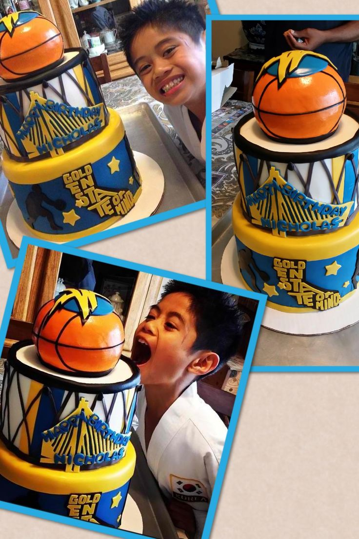 A golden state warriors cake I did for my nephews 8th bday