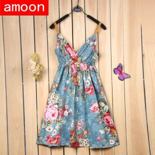 Amoon / Free Shipping / Women 2014 New Spring Summer Autumn Casual Pretty Flower Print Dress /Free Size /12 Colors /Cotton Strap-in Dresses ...