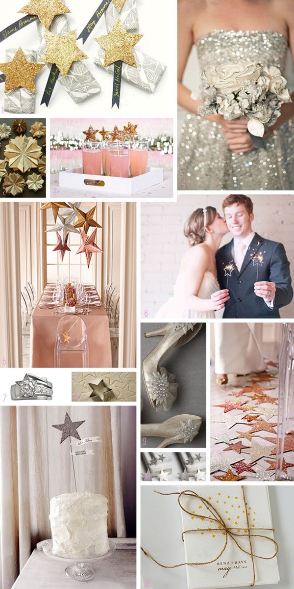 Star Moodboard. Stars are a great theme for weddings, but they are also good for a Morning-after New Year's Eve Brunch