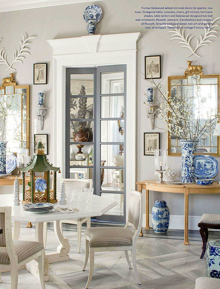 He Thinks That All Wall Mirrors Are Tacky- beautiful Furlow Gatewood dining room beautifully styled. Similar mirrors at Wisteria, BTW!