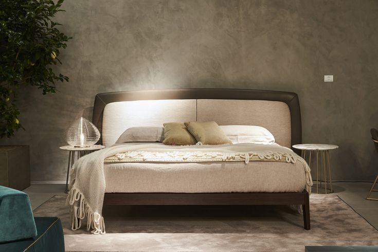 Fimes, Salone del Mobile 2017, Milano . Sober and elegant style for Yugen bed of Fimes.  #bed #nightstand #bedroom #closet #slidingdoors #leafdoors #interiordesign #design #modern #contemporary #madeinitaly #salonedelmobile #fieradelmobile #isaloni #fieramilano #luxury #glamour #artdeco #fimes #dresser #tvunit #sofa #mirror #silver #gold #leather #glossy  #bookcase #walkingcloset #cornerbed #coplanar #leather #ilsalonedelmobile2017 #milanodesignweek2017 #casadecor2017
