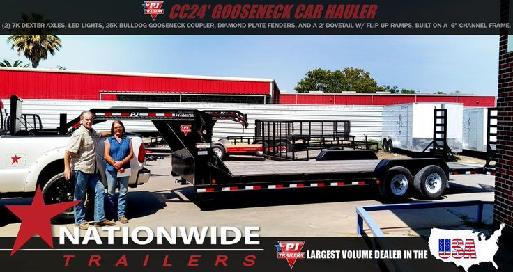 """Well, look what we have here! A PJ Trailer! At Nationwide Trailers, we carry over $3 million in stock inventory so we can hook up people like, Daniel Shearer of Manvel Tx. with this CC24 Gooseneck Car Hauler, loaded with (2) 7K Dexter Axles, LED Lights, 25K Bulldog Gooseneck Coupler, Diamond Plate Fenders, and a 2' Dovetail w/ flip up Ramps, built on a 6"""" Channel Frame. Our staff would like to give a big THANKS YA'LL, to these two. We appreciate being your choice. We know our customers have…"""