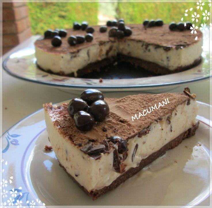 tarta semi fria de yogur y chocolate