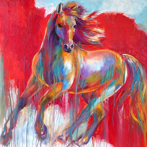 Dancing on Red - Barbara Meikle. http://santafeselection.com/blog/2014/11/29/colorful-passion-barbara-meikle-fine-art/