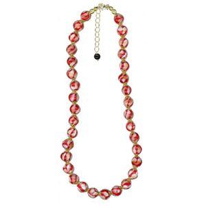 Silver - Red & White Murano Glass Necklace