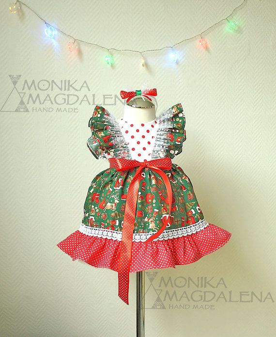 Christmas baby girls dress  made of Christmas by MonikaMagdalenaHM