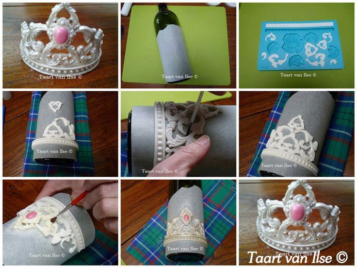 STEP-BY-STEP! How to make a pretty Gum paste Tiara using a Wilton baroque/Lace mold and cameo mold but any lace mold will do.. Finish by dusting with lustre dust! So pretty! Fabulous how-to thanks to Taart van Ilse!   Use Google translate for full details: http://www.deleukstetaarten.nl/forum/viewtopic.php?id=218714