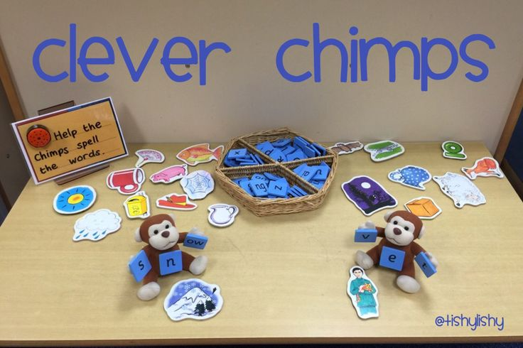 Phonic challenge table. 'Clever Chimps' a new resource in class.