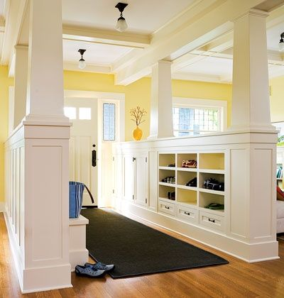 Entryway Idea – I would put floor to ceiling bookshelves on one side and a huge coat closet on the other. You could seperate your office and living room this way