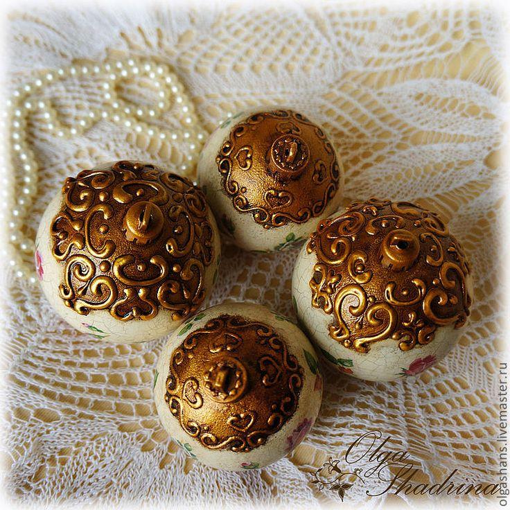 """Купить Елочные шарики """"Розочки"""" - золотой, розы, елочные шары, елочные игрушки, елочные украшения"""