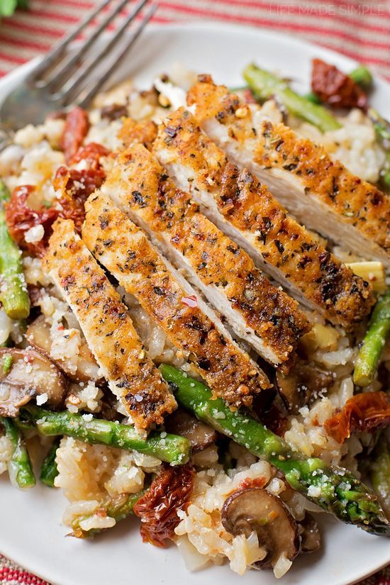 "You're going to fall in love with Chase's Parmesan Chicken ""Risotto."" It's flavorful, comforting and loaded with chicken and veggies."