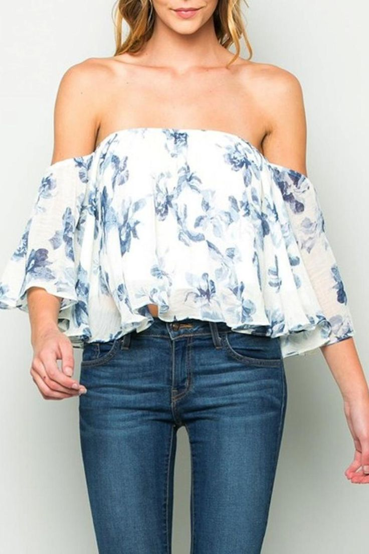 Start thinking about spring with this blue floral print off the shoulder top.    Fully lined. Off Shoulder Top by Yipsy. Clothing - Tops - Off The Shoulder Louisiana