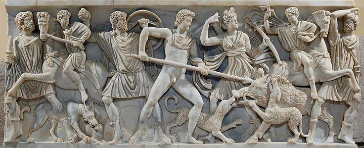 Caccia del cinghiale calidonio di Meleagro, sarcofago romano MUSEI-CAPITOLINI