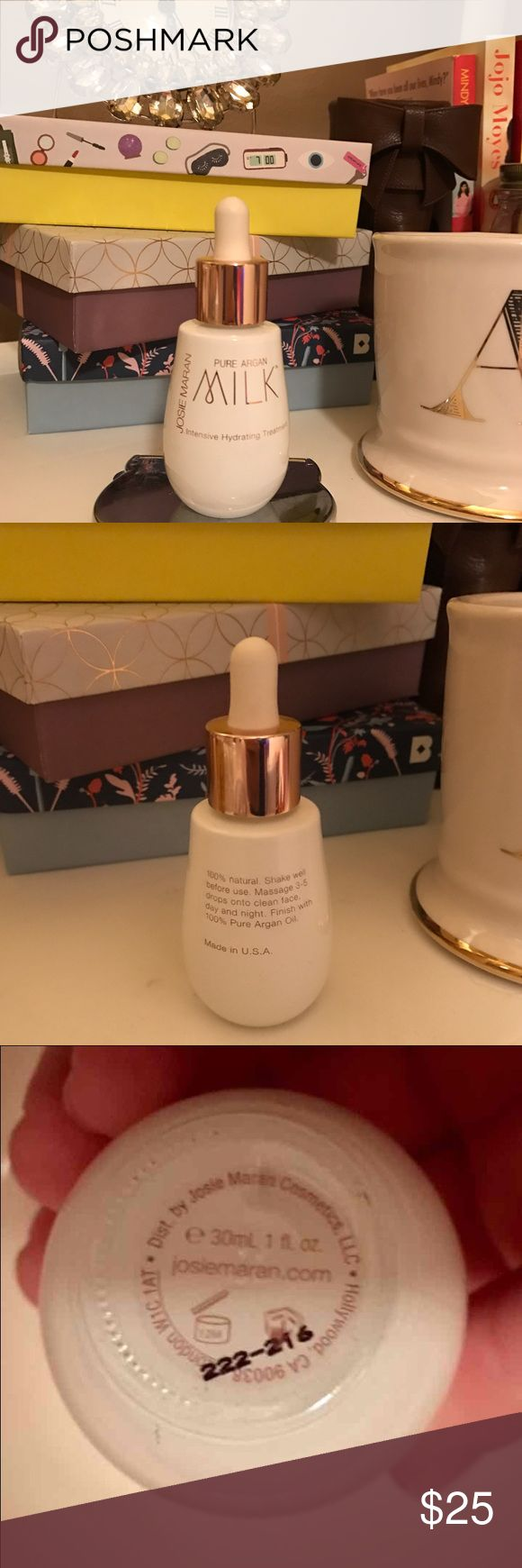 Josie Maran 100% Pure Argan Milk BRAND NEW Bought from QVC   What it is: A 100 percent natural, emulsifier-free, hydrating treatment serum.  What it is formulated to do This revolutionary treatment serum pairs the deep hydration of purified water with skin-rejuvenating micro-droplets of Josie's 100% Pure Argan Oil. Lightweight yet super-intensive, Pure Argan Milk Intensive Hydrating Treatment penetrates deeply and absorbs quickly to fortify and repair skin for instant, long-lasting hydration…