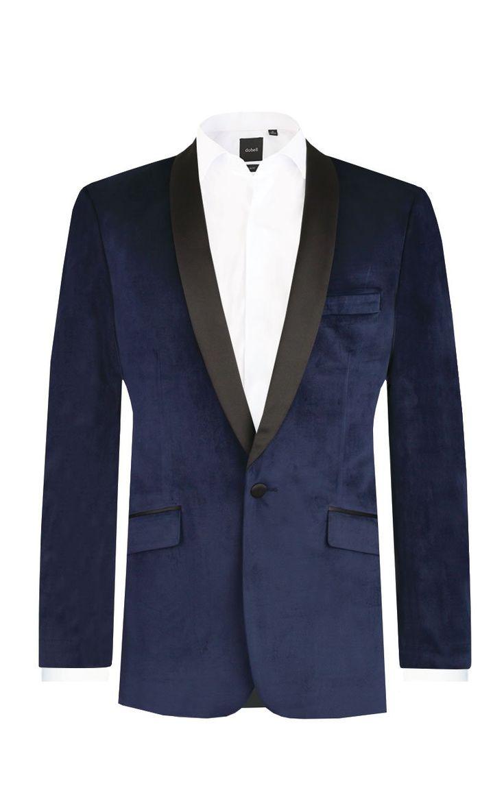Dobell Mens Formalwear Smart Slim Fit Navy Blue Velvet Jacket 44R