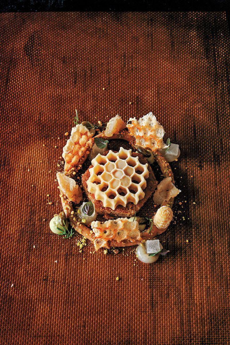 "The 14-page recipe for ""Honey (Spring),"" requires an immersion circulator —Crenn uses honey, beeswax, pollen, and honeycombs. ""With the floral, fruity & nutty flavors that appeal to bees, the dish is an ode to honey, a celebration of honeybees & their role in sustaining the entire ecosystem."" Dessert: beeswax sorbet, a honey meringue, roasted white-chocolate crémeux, pistachio puree, candied pistachios, braised pears, pear puree, honey caramels & honey-chamomile cake made with gluten-free…"