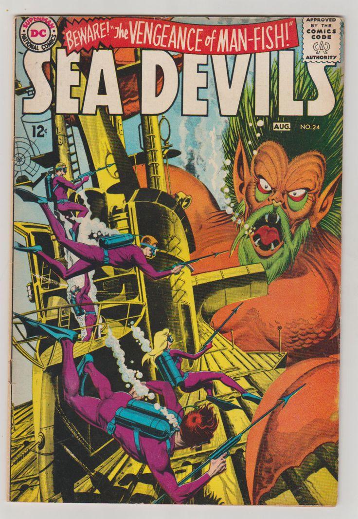 Sea Devils; Vol 1, 24, Silver Age Comic Book.  VF-. August 1965.  DC Comics #seadevils #silveragecomics #comicsforsale