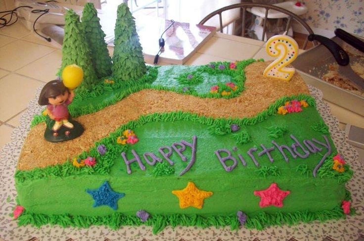 Dora Cake Last minute request for a Dora cake. Sheet cake with a graham cracker trail and sugar cone trees.