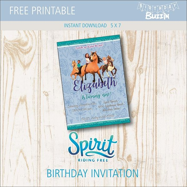 Free Printable Spirit Riding Birthday Party Invitations