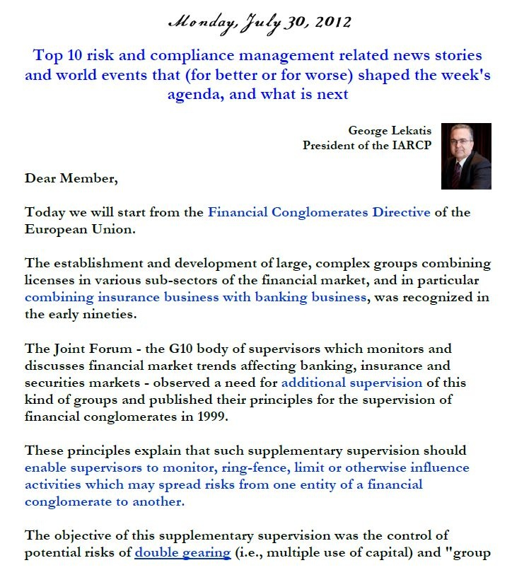 Risk Management News, 30 July 2013
