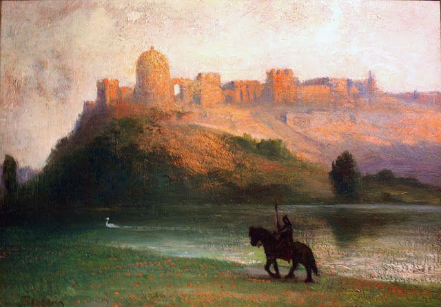 Hermann Hendrich (1854 - 1931), Parsifal revenant sur les Terres du Mystérieux Château du Graal.