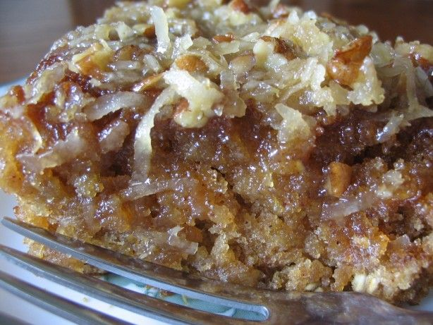 Try Lazy Day Oatmeal Cake - moist oatmeal cake with a rich butter, brown sugar, coconut topping.  A real family favorite.