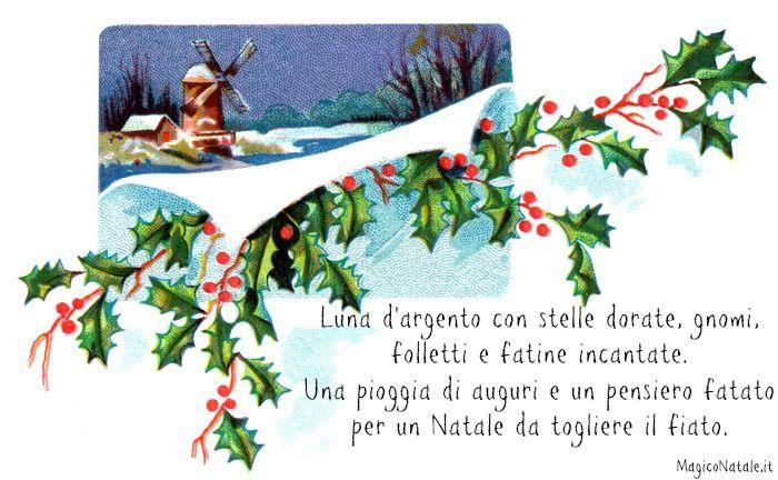 Luna d'argento con stelle dorate gnomi, folletti e fatine incantate. Una pioggia di auguri e un pensiero fatato per un Natale da togliere il fiato.