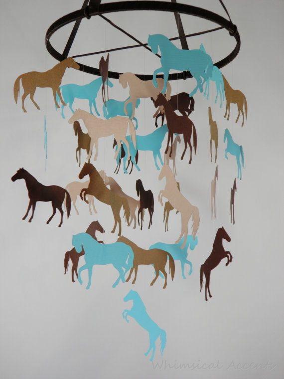 Horse Decorative Mobile in Aqua Blue and by whimsicalaccents Modern Baby Mobiles Handmade Paper Mobiles Ceiling Decor Nursery Decoration Hanging Baby Mobile Crib Mobile Baby Shower Gift Photo Prop Birthday Gift Classroom Decor Horse Mobile Girl Bedroom Boy Bedroom Pony Decor Equestrian Decor Cowboy Cowgirl