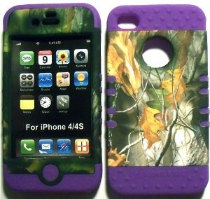 Amazon.com: Camo Mossy Oak on Purple Silicone Skin for Apple iPhone 4 4S Hybrid 2 in 1 Rubber Cover Hard Case fits Sprint, Verizon, AT Wireless: Cell Phones & Accessories