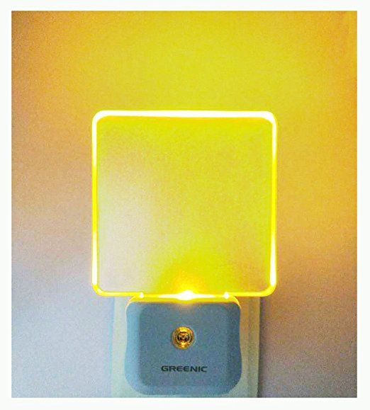 Pack of 2 Greenic Auto On off LED Night Light Lamp with Dusk to Dawn Light Sensor, UK Plug, 0. 5W, Yellow Night Light
