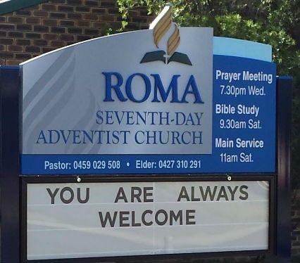 Roma Seventh-day Adventist Church Sign / Danthonia Designs