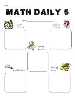 Math Daily 5 Planning Sheet.