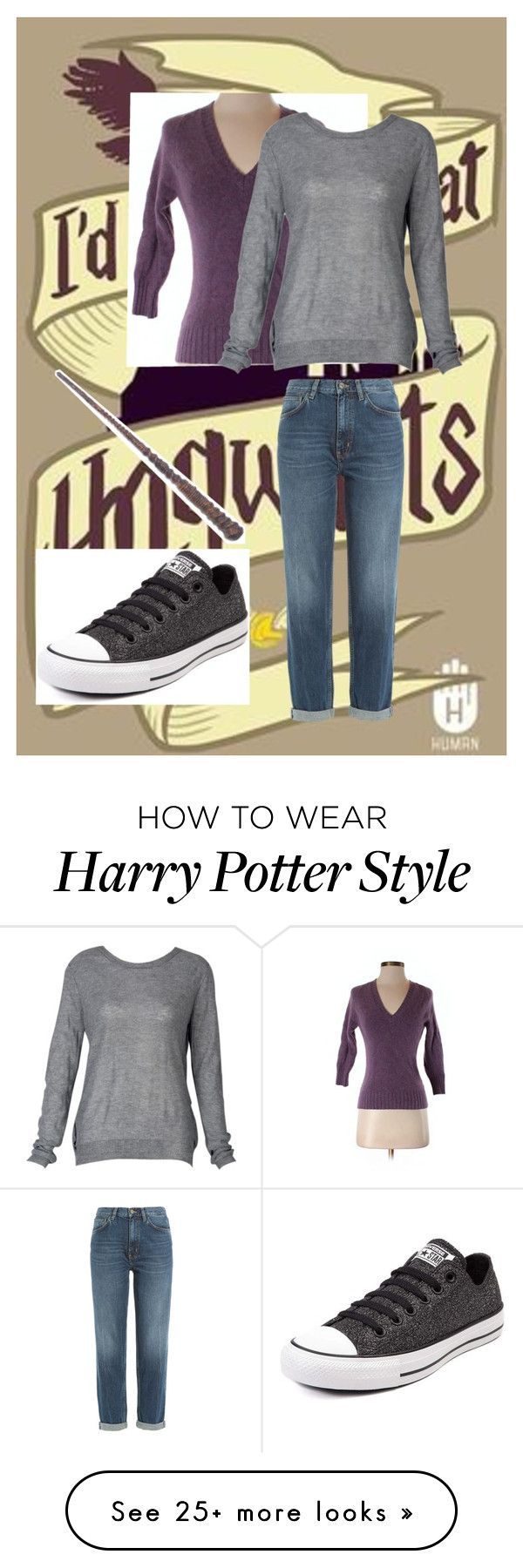 """Harry Potter"" by mynameisblrryface on Polyvore featuring Gap, M.i.h Jeans and Converse"