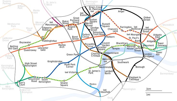 Tube map: Unofficial map of zone 1, showing more correct geographic locations of the stations