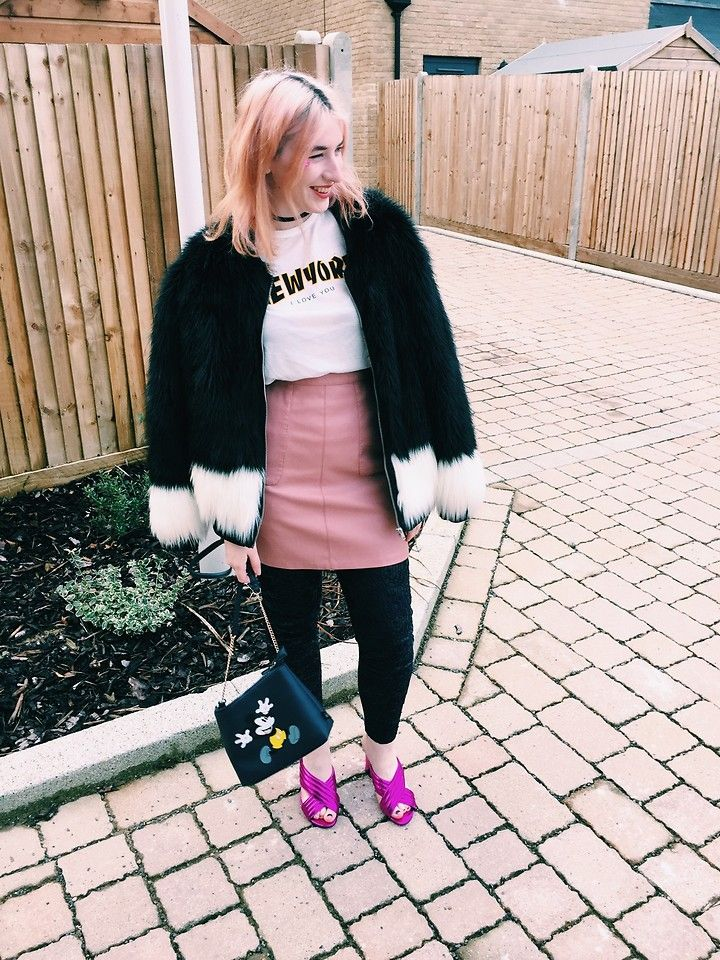 Maria Nichol - Zara Tshirt, New Look Skirt, H&M Coat, New Look Mules - Cold weather layers blogger street style
