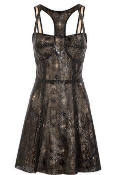CAPITOL COUTURE BY TRISH SUMMERVILLE Laser-cut patent-leather dress | NET-A-PORTER